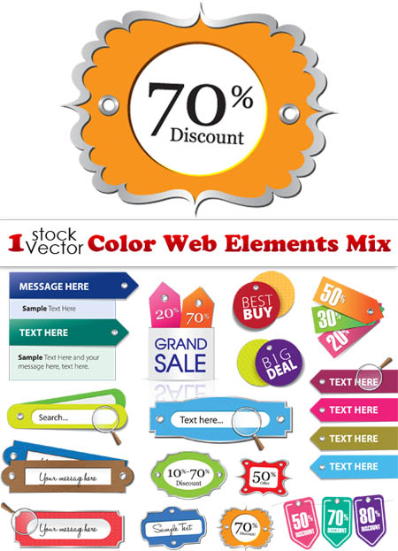 Color Web Elements Mix Vector