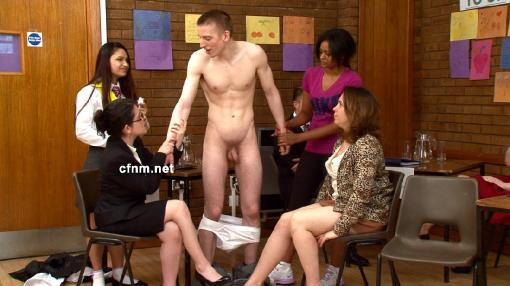 CFNM is an abbreviation of Clothed female, naked male. It is an activity featuring one or more nude men and one or more clothed women